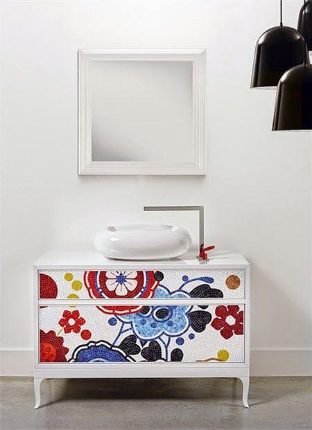 Mueble lavabo floral muebles de ba o originales mueble for Muebles bano originales