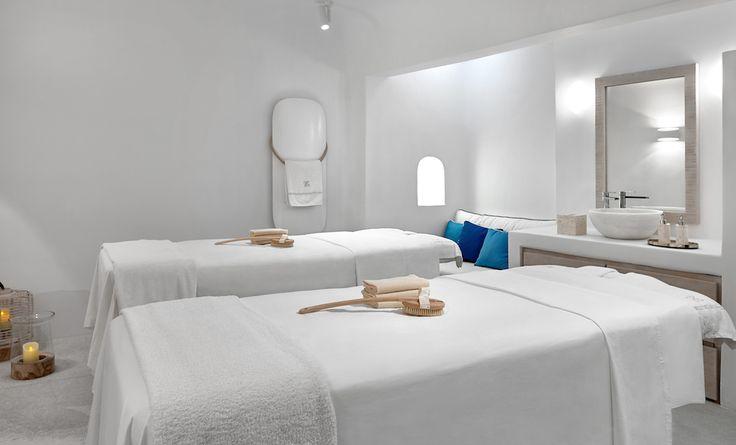 The double treatment room at the Six Senses Spa Mykonos.