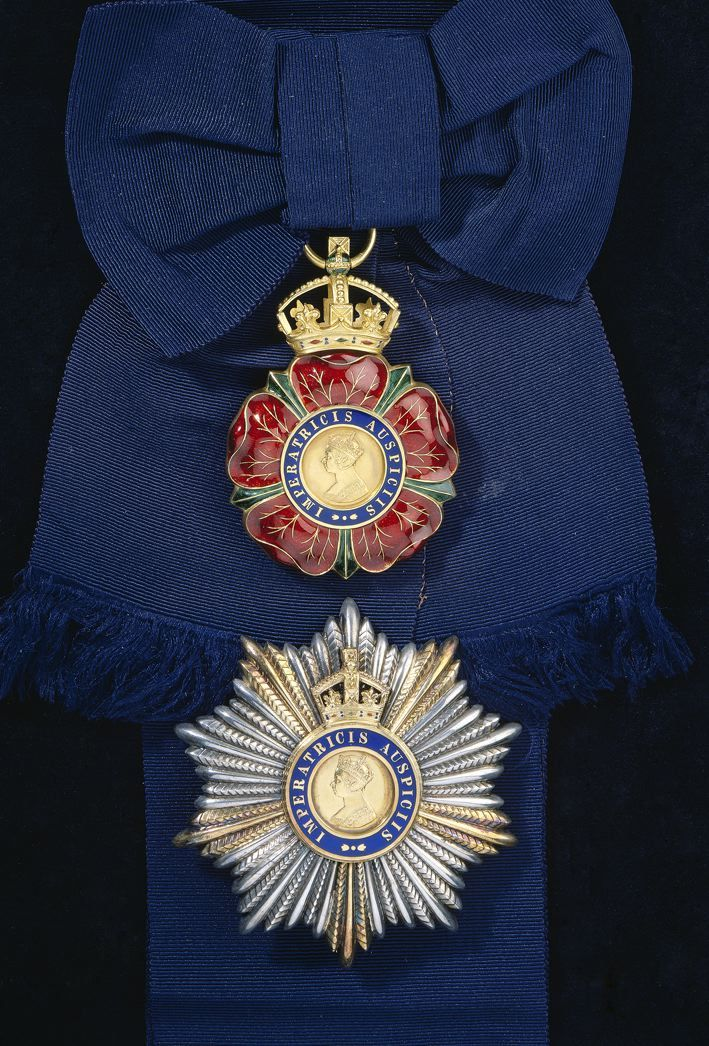 Order of the Indian Empire, G.C.I.E. insignia, sash badge, 87mm x 60mm and breast star, 91mm, created G.C.I.E. and Grand Master upon appointment as Viceroy of India in 1910.