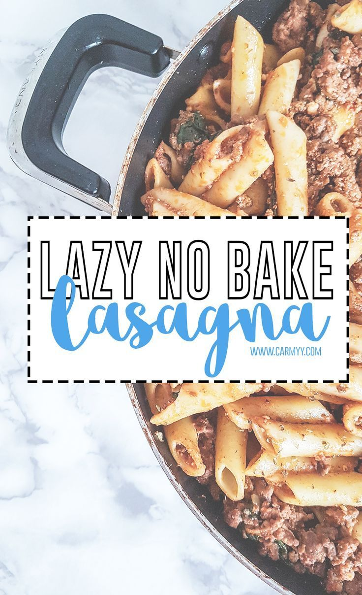 Feel like lasagna but don't want to put in the work? This lazy no bake lasagna with a skillet is fast and does not require any layering! via /runcarmyrun/