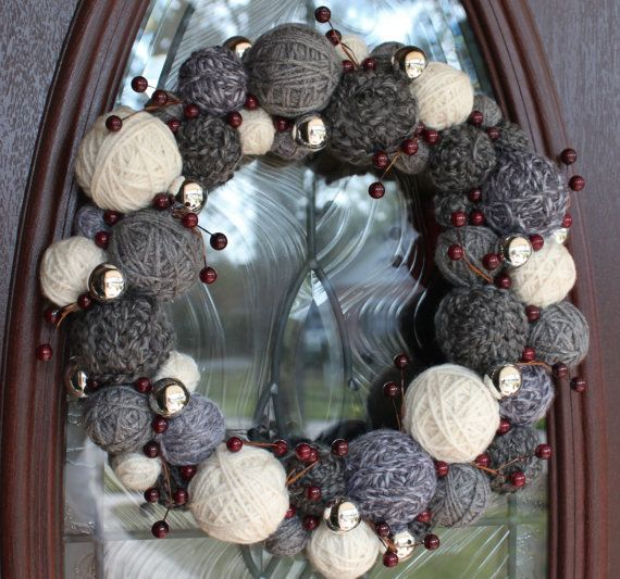 Christmas Wreath, Holiday Wreath, Winter Wreath, Yarn Ball Wreath, 14 inches, in grays/neutrals, MADE TO ORDER