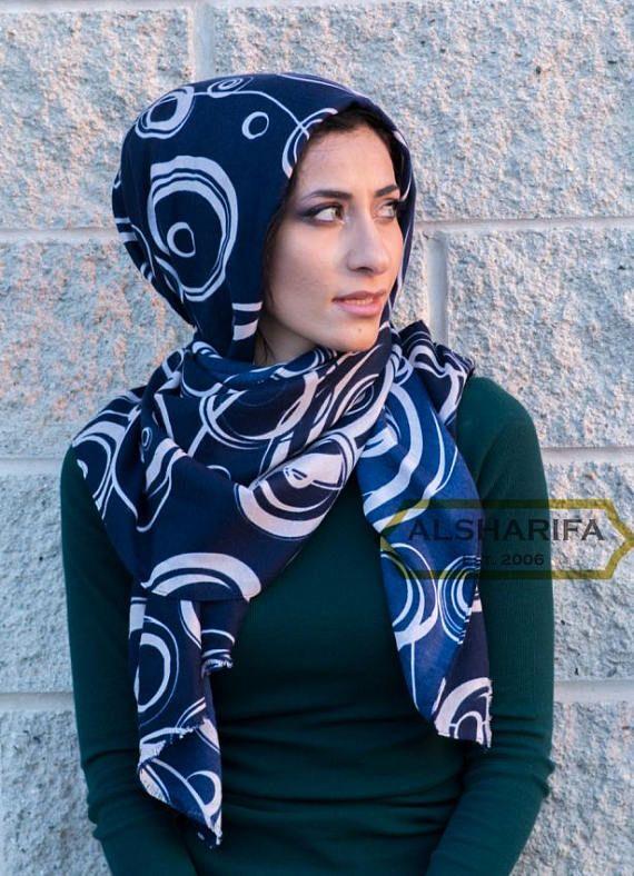 Circles Fashion Scarf  Geometric Scaves  Muslim Hijab
