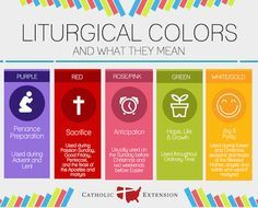 Why is the priest wearing that color? Learn more about the meaning of various colors during the liturgical year. Perfect for catechism classes, Catholic vacation bible school, or religious education courses.