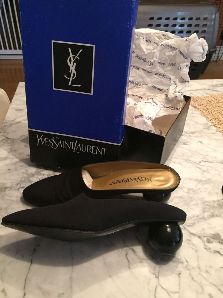 UNIQUE Vintage YSL Yves Saint Laurent Black fabric ball heel mules ...