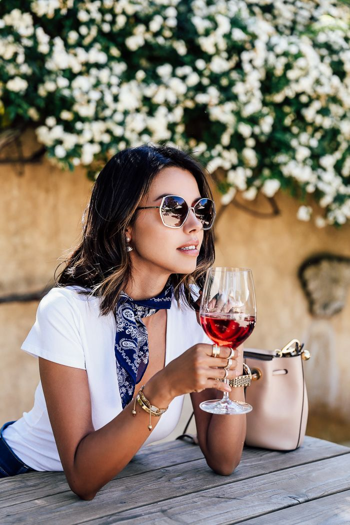 VivaLuxury - Fashion Blog by Annabelle Fleur: SUNNY SANTA BARBARA -EXPRESS Denim patch pocket shorts, One Eleven crisscross v-neck bodysuit, classic bandana in navy & sunglasses | CHLOE Gala small bucket bag | MARC FISHER LTD Fawn gladiator sandals April 11, 2016