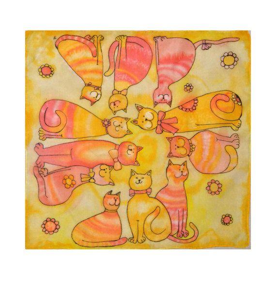 Small handpainted silk scarf  Happy cats  silk by JankaLart