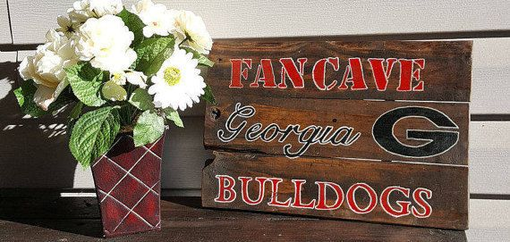 PLEASE NOTE:  THIS ITEM CAN BE ORDERED BUT MAY NOT ARRIVE UNTIL AFTER CHRISTMAS!  SORRY FOR THE INCONVIENCE!   Rustic Country #Georgia #Bulldogs Wood Sign made out of reclaim... #fancave #mancave #craftsbygaddis #handmade #handpainted #woodsign #woodensign #homedecor #uga #georgia #bulldogs ➡️ http://etsy.me/2hSGPcl