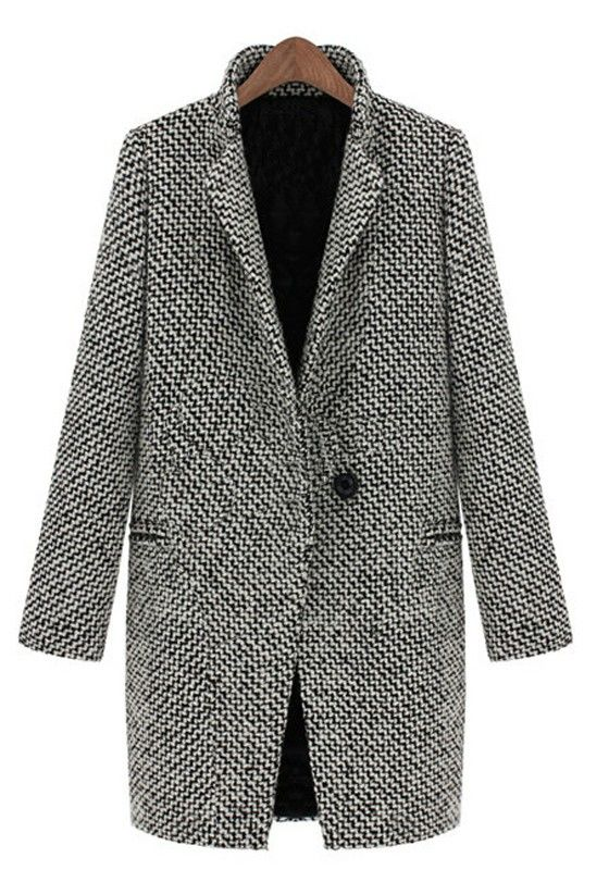 ++ Black-White Peak Lapel Long Sleeve Wool Coat