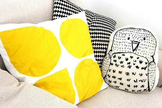 yellow pilow and aarrekid owl pillow