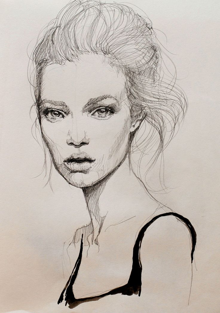 Beautiful fashion illustration - portrait drawing; fashion sketch // Kasia Rei