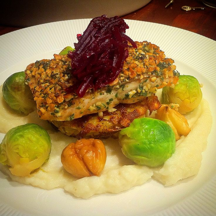 Hazelnut crusted salmon rosti artichoke puree and for Fine dining at home recipes