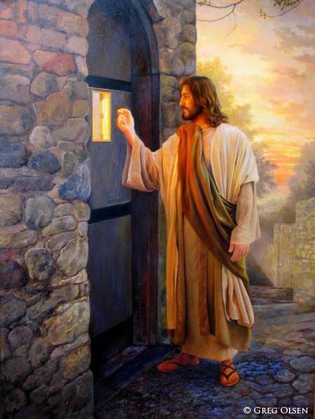 Greg Olsen art - Jesus stands at the door of our heart knocking, will you answer?