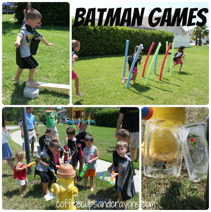 Batman Birthday Party! unfreeze batman with water guns, super hero training- barbell with styrofoam and dowel. giant roll of packing bubbles to make hero sounds, pow, bam ect. hero sub sandwiches.