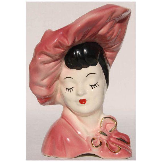 Vintage Ceramic Lady Head Vase 7 1/2 in Tall by VintageFanAttic, $75.00