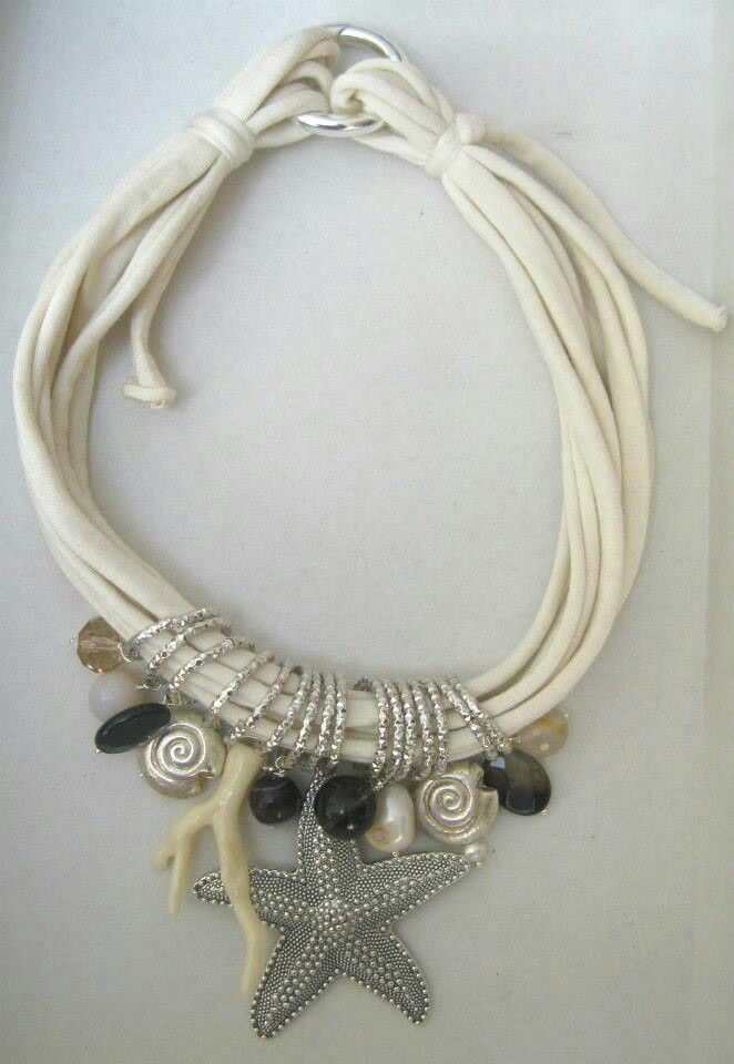 Collana di fettuccia con perle barocche, quarzo fumé, agata, argento indiano e resina. Notedizucchero.blogspot.com
