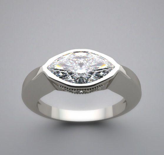 East+West+Marquise+Diamond+Ring | FEMININE EAST TO WEST FLUSH SET MARQUISE DESIGNER RING SETTING