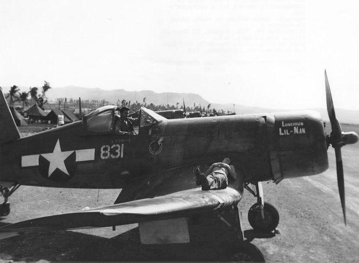 F4U Corsair 'Luscious Lil-Nan' of Marine Squadron VMA-21 at Orote Field, Guam, Marianas. 1944