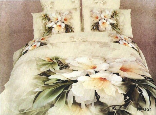 AlyShop: Lenjerie din bumbac satinat pentru pat dublu 3D - Flora