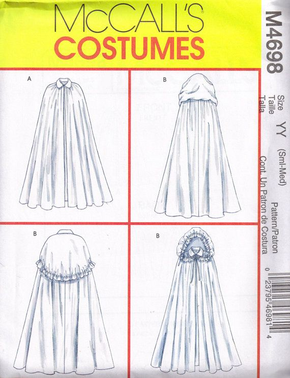 Mccalls 4698 Gothic Medieval Cloak Cape Sewing Pattern Size S ...