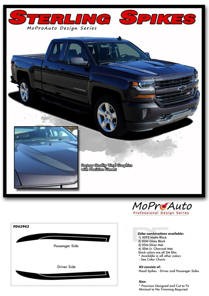 2018 chevrolet pickup colors. contemporary pickup 2016 2017 2018 chevy silverado lateral hood spikes spears vinyl graphics  decals and stripes kits professional style graphics kit  precut  throughout chevrolet pickup colors