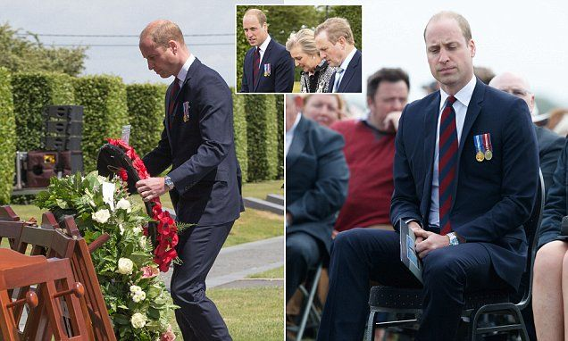 Prince William joined Ireland's outgoing Taoiseach Enda Kenny and Princess Astrid of Belgium at the centenary commemoration of the Battle of Messines in Flanders.