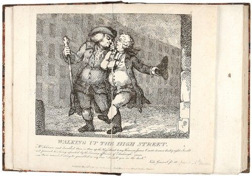 Rowlandson ridiculing Boswell and Johnson in  Picturesque Beauties of Boswell, 1786. #caricature #etching
