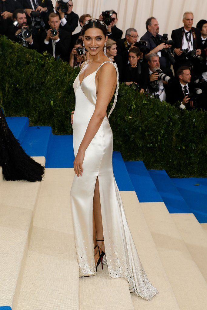 At the 2017 Met Gala wearing a silk slip dress by Tommy Hilfiger and Fred Leighton jewels.