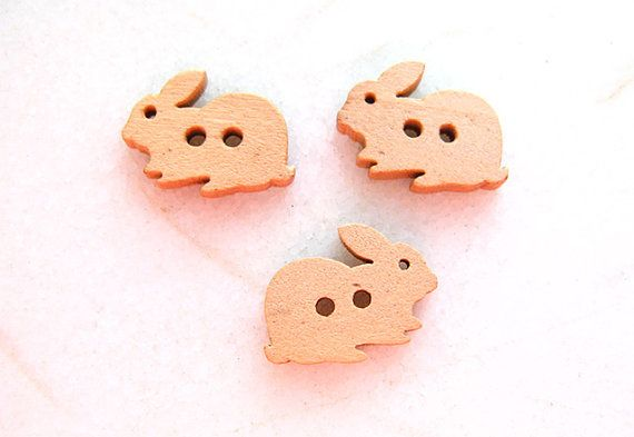 Cute Cartoon Bunny Rabbit  Wood Buttons Children by nezoshop, $2.40
