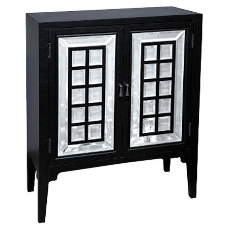 Two-door wood chest with mirrored-tiled panels.  Product: Hall chestConstruction Material: Wood composites, sele...