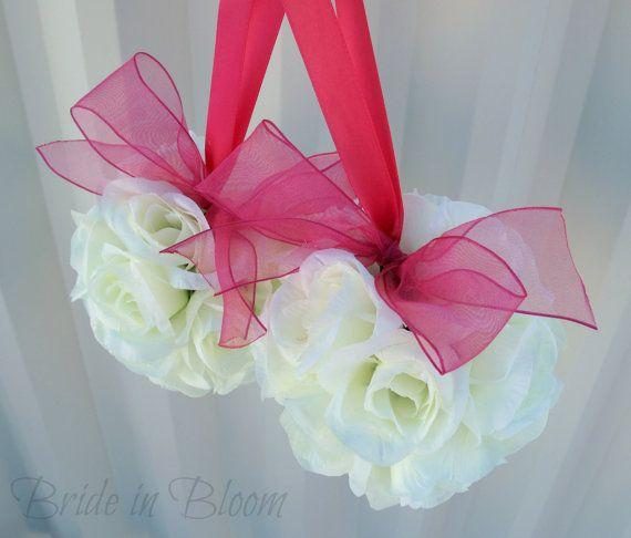 Wedding flower balls pomander ivory cream by BrideinBloomWeddings, $18.00