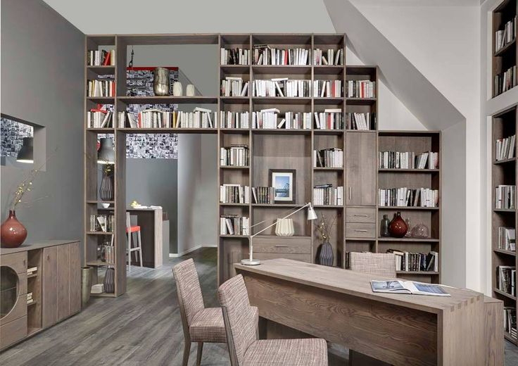 Home Library Design Idea, with a great visual effect. Design by Klose #KloseFurniture #bookcases #homelibrary