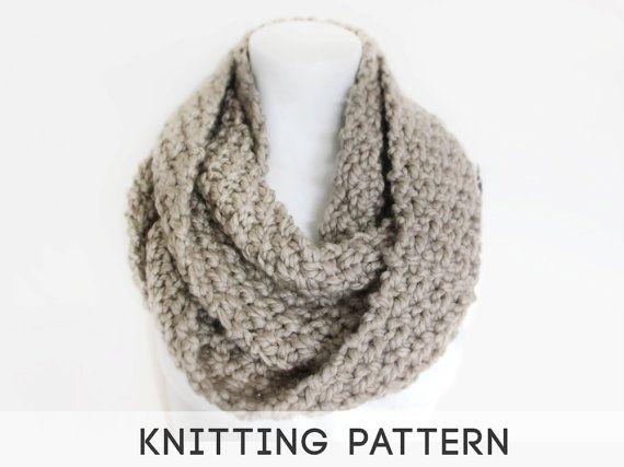 Knitting Patterns For Mega Chunky Wool : Mega Chunky Knit Infinity Scarf - Knitting Pattern - ceruleanuk.etsy.com Kn...