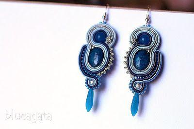 blueagata: Winter Sky - soutache earrings with blue jade.