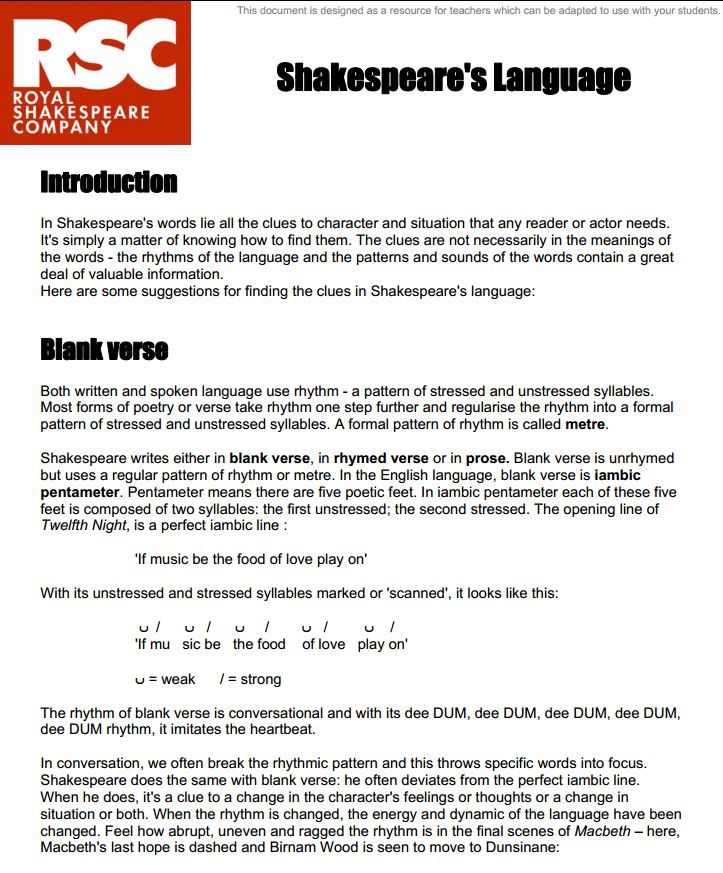 the language of shakespeare Author(s): randal robinson with the activities in this book, your students can come to understand the language of shakespeare by learning to recognize and translate troublesome words and syntactic patterns.