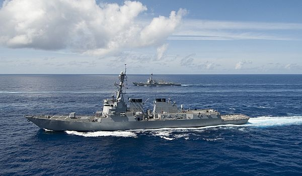 (April 29, 2013) The guided-missile destroyers USS Momsen (DDG 92) (top) and USS Preble (DDG 88) (closest) transit the Pacific Ocean in formation with the USS Nimitz (CVN 68). (U.S. Navy photo by Mass Communication Specialist 1st Class Michael D. Cole/Released)