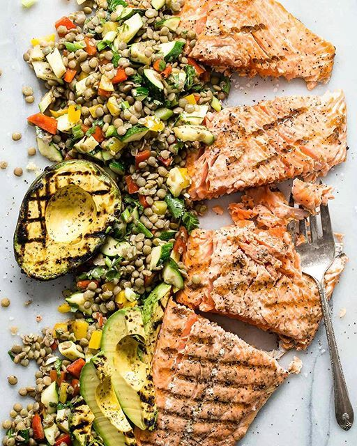 Grilled Salmon With Green Lentil And Avocado Salad via @feedfeed on https://thefeedfeed.com/foodnessgracious/grilled-salmon-with-green-lentil-and-avocado-salad