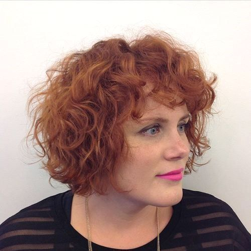 40 cute styles featuring curly hair with bangs red curly