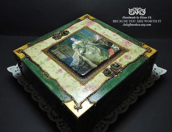 Caja mano decoración caja caja de joyería antigua edad