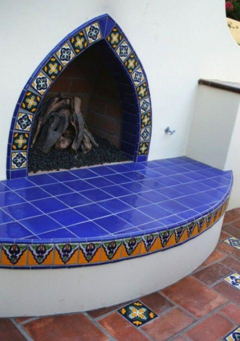 Outdoor Fireplace using Colonial 2 & Baroque 8 Mexican Talavera tile