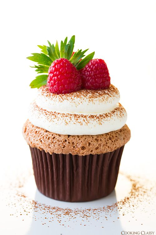 Chocolate Angel Food Cupcakes w/ Cream Cheese Whipped Cream Frosting
