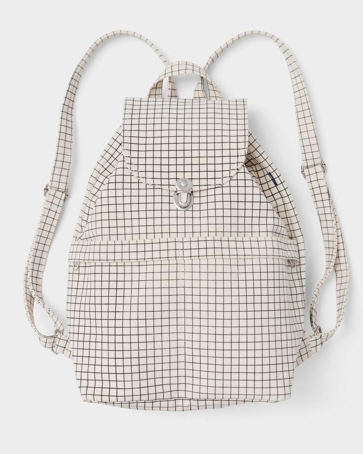 Baggu canvas backpack in natural grid pattern