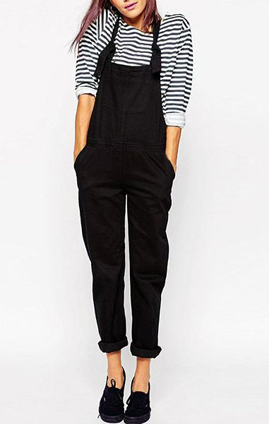 Casual Mid-Waisted Pocket Design Pure Color Women's Overalls