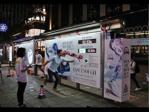 Reebok Shuttle Run Challenge at HK bus shelter   JCDecaux Cityscape - YouTube