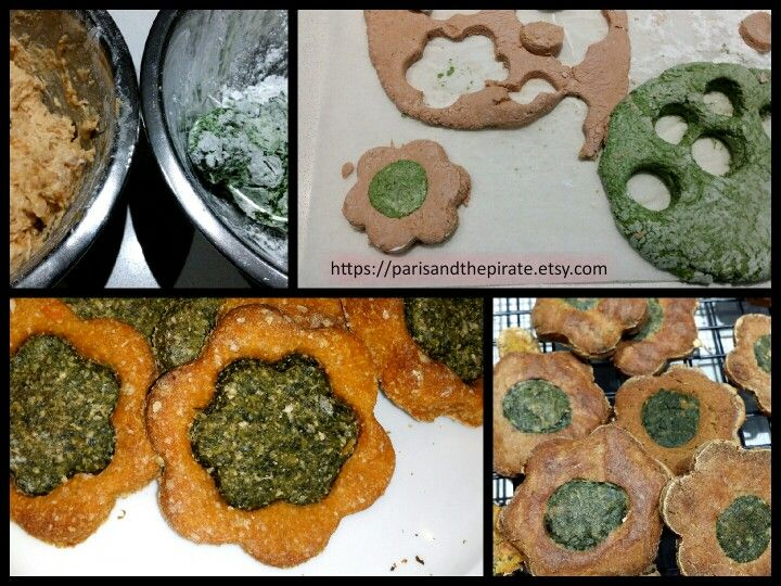 """Dog treats with spinach, chicken liver, sweet potatoes, wholemeal flour, oats """"Pate? I'm livered"""""""