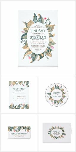 Watercolor Tree Leaves Rustic Wedding Collection