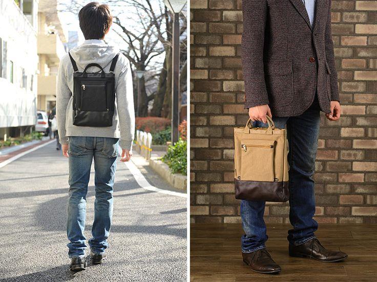 【楽天市場】BROMPTON 3way帆布バッグ /男性用/メンズ/ショルダーバッグ/縦型/日本製/A4/キャンバス/薄マチ/スリム/リュック/鞄/かばん/バッグ/ 【送料無料】:メンズバッグ T-style