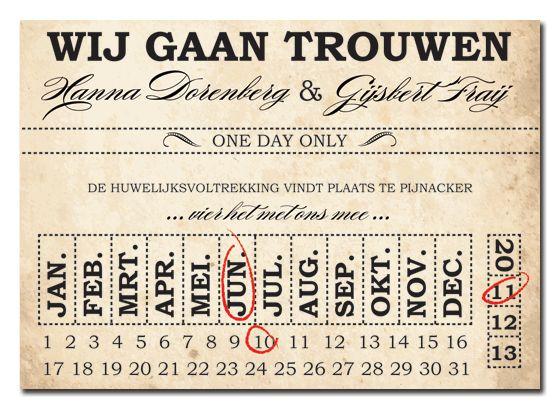 Vintage wedding card by www.weddingdesigns.nl