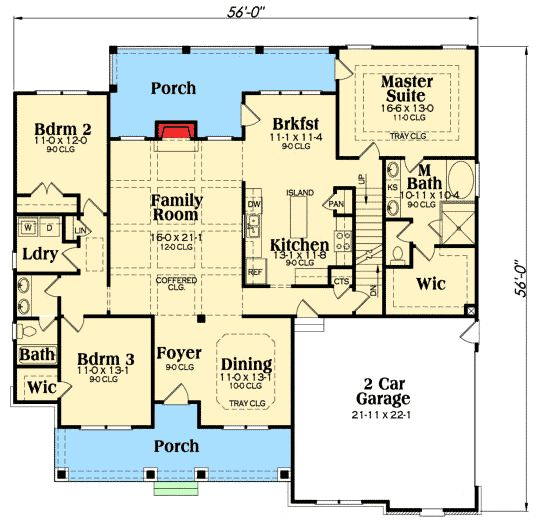 Plan 75400gb flexible plan with front to back foyer for Ranch floor plans with bonus room