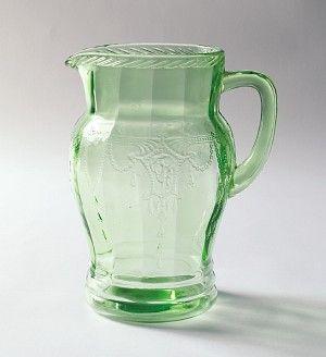 Depression glass pitcher