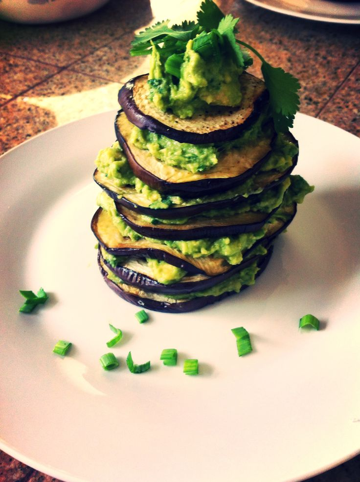 Eggplant lasagna with avocado pesto, cilantro, chives, lime juice